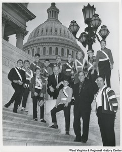 Congressman Arch A. Moore, Jr.  on the steps of the Capitol with the Nutter Fort School Boy Patrol.