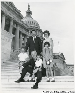 Congressman Arch A. Moore, Jr. on the steps of the Capitol with Victor Greco and his family.