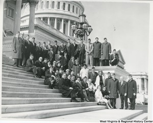 Congressman Arch A. Moore, Jr. on the steps of the Capitol with West Virginia Veterans of Foreign Wars.