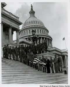 Congressman Arch A. Moore, Jr. on the steps of the Capitol with the Fairmont Boy Scout Troop 10.