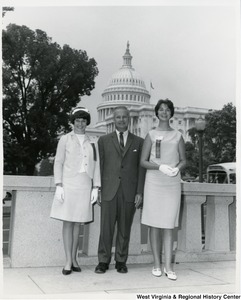 West Virginia's two Girls Nation senators, Kathy Miller (Left) of Wheeling and Anne Belton (right) of Fairmont, take time off from their duties to visit Congressman Arch A. Moore, Jr.