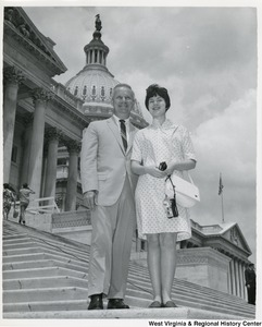Congressman Arch A. Moore, Jr. standing on the steps of the Capitol with Floyd Graham's daughter, Janice.
