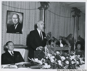 An unidentified man speaking at the Italian Sons and Daughters banquet in Weirton, W.Va.