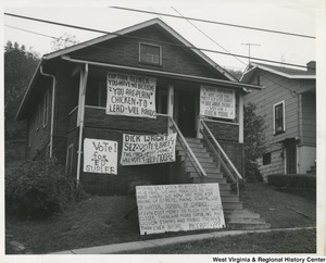 A house covered in political signs in Weirton, W. Va.