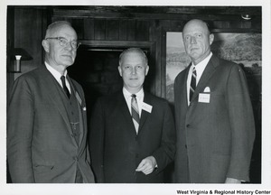 Congressman Arch A. Moore, Jr. (center) with C. Burton (right) and an unidentified man at Bethany College.
