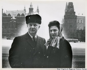 Congressman Arch A. Moore, Jr. and his wife, Shelley, near Red Square, Moscow, Russia.