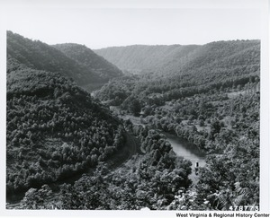 A photograph looking up Greenbrier River from Gunpowder Ridge in Greenbrier County, W.Va.