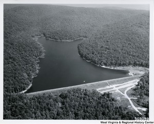 Aerial view of Summit Lake. A popular recreation lake that was built cooperatively with the West Virginia Conservation Commission.