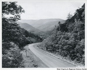 U.S. Route 33 winding down into the mountain-rimmed upper end of North Fork Valley, toward Judy Gap, W.Va.