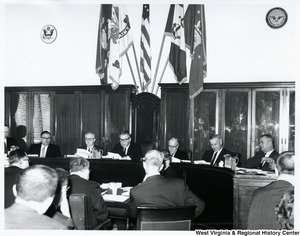 Congressman Arch A. Moore, Jr. (seated second from the right) at a hearing.